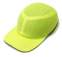 Каска-бейсболка ударопрочная со светоотражающей лентой (цвет ультра салатовый) (10628)