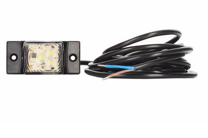 Габаритный фонарь диодный  белый (73х33мм.) +кабель 3м. 12/24v/LD 146/1768