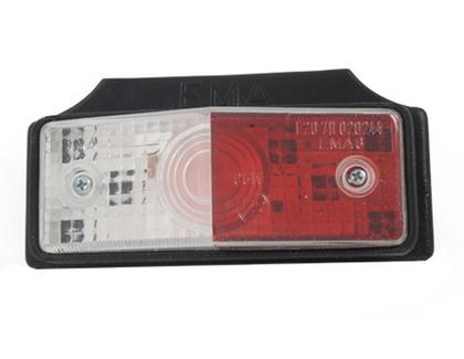 Габаритный фонарь для грузовика бело-красный (95х38мм) с кронштейном/1827