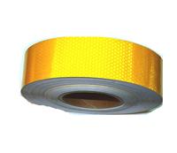 Лента-наклейка светоотражающая 1-й сорт,рулон 50м*50мм желтая/2440