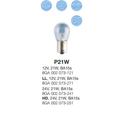 Лампочка HELLA P21W/2584