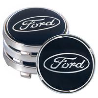 Заглушка колесного диска Ford 60x55  черный ABS пластик  (4шт.) под стеклом (JP)