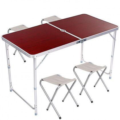 Раскладной туристический стол для пикника со стульями в чемодане Forest party(11541)