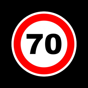 "Наклейка знак ""70"" диам. 130мм/5907"