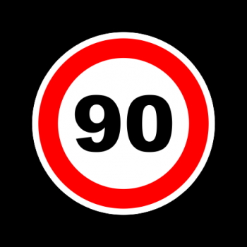 "Наклейка знак ""90"" диам. 130мм/5909"
