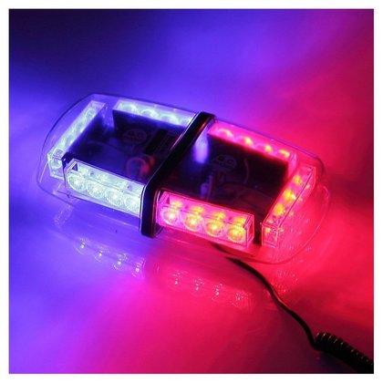Световая панель мини, проблесковый маячок светодиодный красно - синий 12 В/6655
