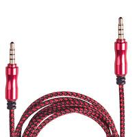 Кабель аудио AUX 3,5 мм 1,5м,ткань (Red/Black) (AUX Rd/Bk)