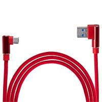 Кабель USB - Micro USB (Red) 90° ((400) R)